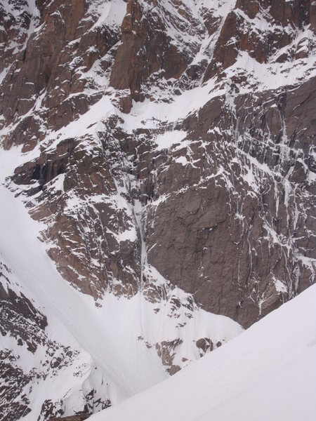 Lots of snow in Alexander's Chimney, but I can't tell if there was any ice.  Evidence of wet/loose snow avalanches in Lamb's Slide and coming off the Notch Couloir.