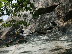 Rock Climbing Photo: Alex reaches for magic powder on the initial slab ...