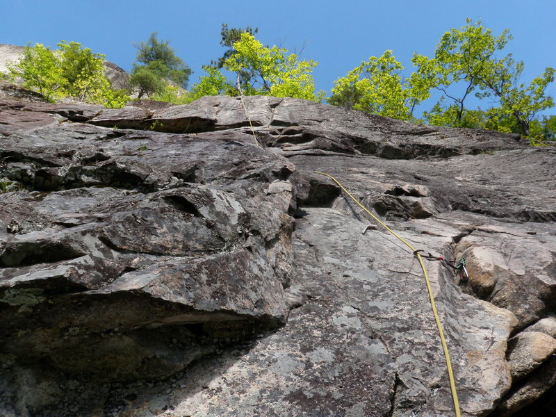 Looking up the 3rd pitch, you can see the line we took.  The bulge at the top center is the crux, and is quite fun.