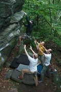 Rock Climbing Photo: Matt Oakes and support crew on Rostrum Arête.