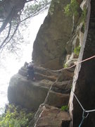 Rock Climbing Photo: The P2 crux - I had to clip both ropes to protect ...