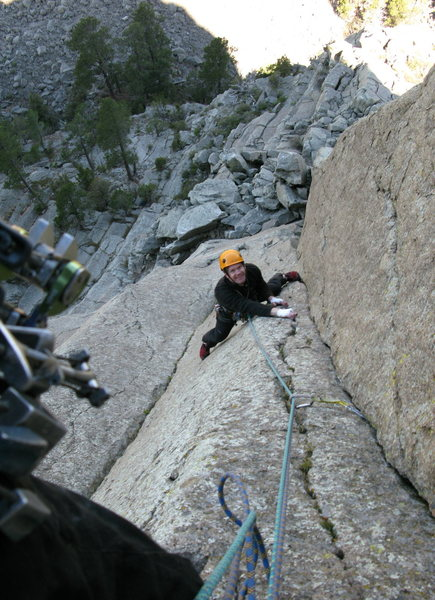 Anders at the crux of the first pitch.