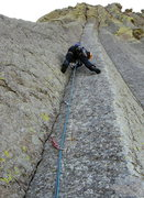 Rock Climbing Photo: Anders heading up the enduro crack. He has a few m...