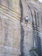 Rock Climbing Photo: Jim Scott gnawing his way up Poplar Mechanics.
