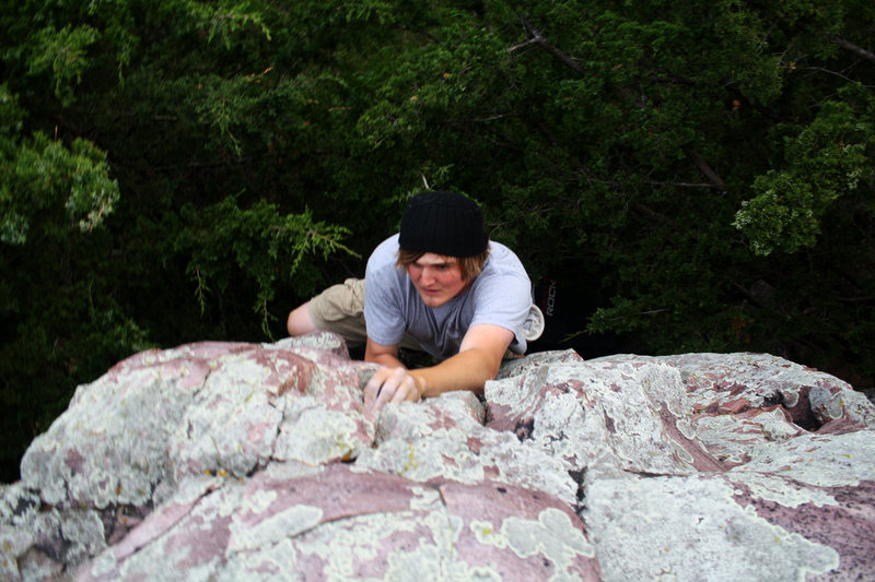 Rock Climbing Photo: Jade working Welcome to the Jungle