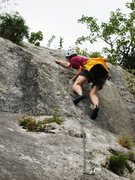Rock Climbing Photo: Final steep part of the first pitch of La Voie du ...