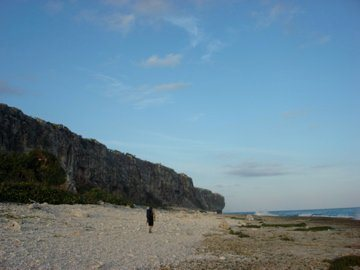Beach to orange cave and wave wall