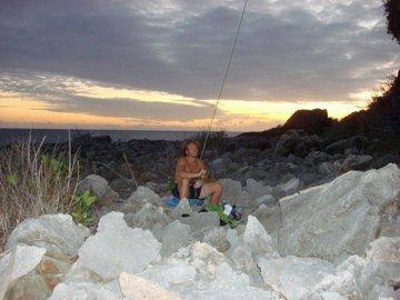 Rock Climbing Photo: sunset belay