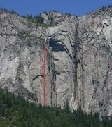 "Rock Climbing Photo: Ribbon Falls area with the ""Gold Wall"" i..."