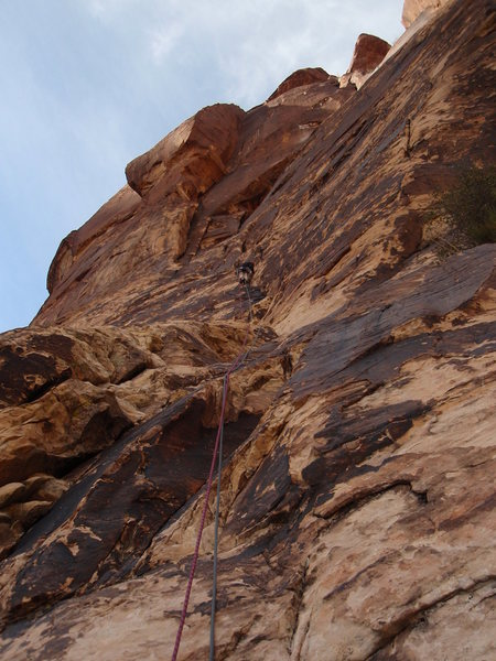 Rock Climbing Photo: Leading easy 1st pitch