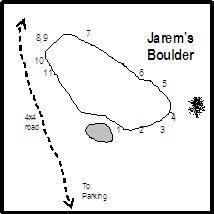 Original beta drawing from Cedar City Bouldering guidebook. Drawn in Microsoft Word by Randy Orton.
