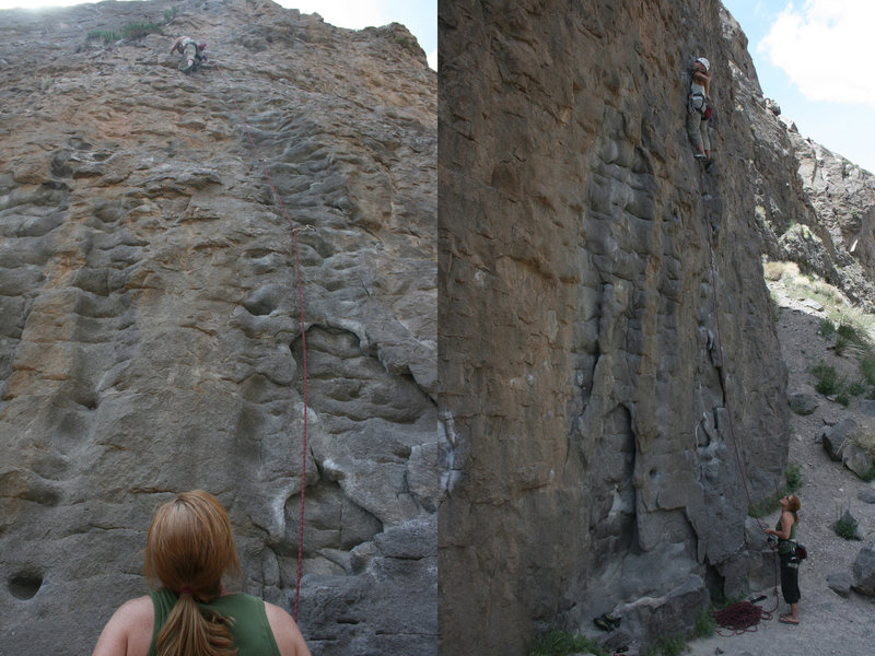 Noelle Ladd with Deb Modugno on belay.