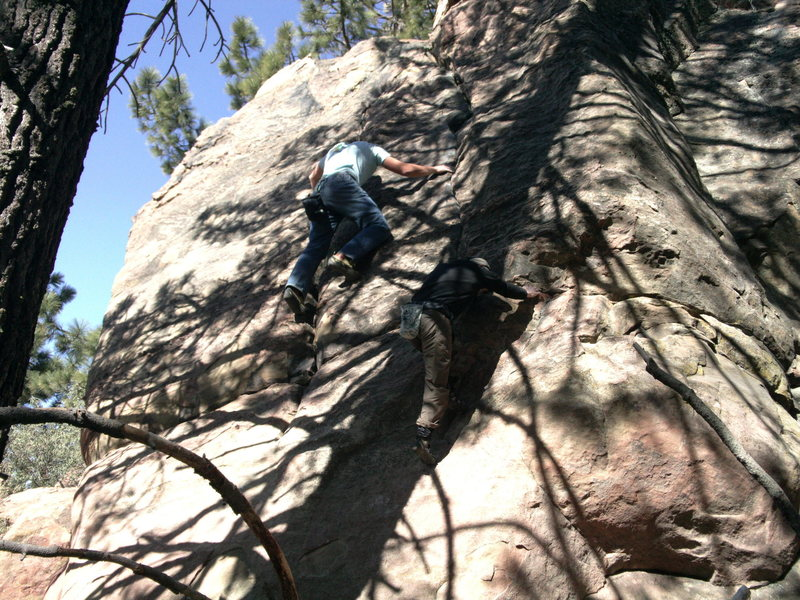 Ryan and Darren on the parallel lines of Condor Cracks.  Rad highball problem