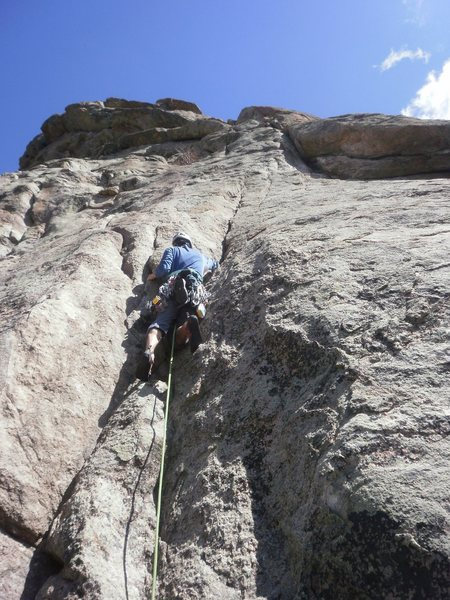 The start of Idiot Wind.<br> Can make it to the bolts @ the start of crux pitch with a 70m.