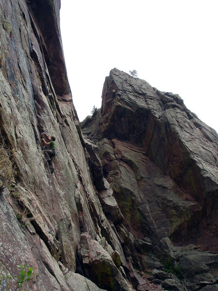 "Jason Baker warming up with the classic ""C'est La [Vie].""  Eldo Canyon, Co."