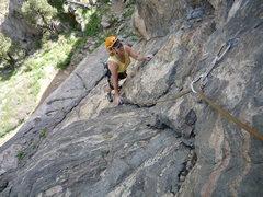 Rock Climbing Photo: CM following the easy part.
