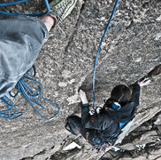 Rock Climbing Photo: Finishing 2nd pitch of Solarian.