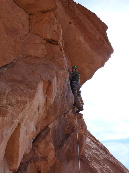 Rock Climbing Photo: Dan Monroe at the start of the crux on P4