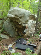 Rock Climbing Photo: Conor on the slopey ledge moving left...
