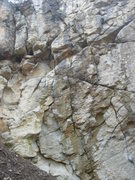 Rock Climbing Photo: The left end of Sárga Fal.  Bolted routes and a c...
