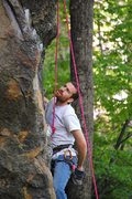 Rock Climbing Photo: Rob pausing to chalk and to scope out the crux mov...