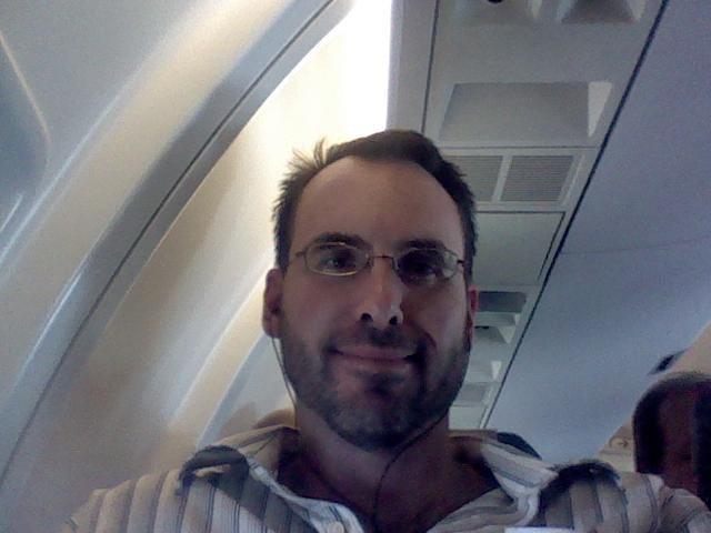 Netbook photo of me returning from a trip.