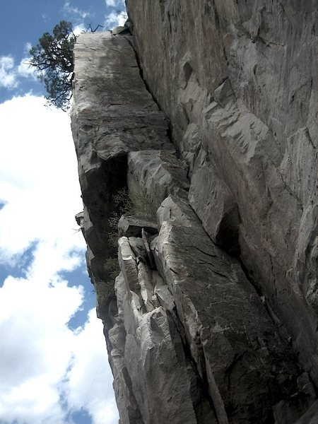 Look Sharp heads up and turns the arete after the first bolt. Climb the left side.