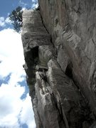 Rock Climbing Photo: Look Sharp heads up and turns the arete after the ...