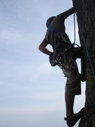 Rock Climbing Photo: Exposure on the start of pitch 3 of Raven Crack