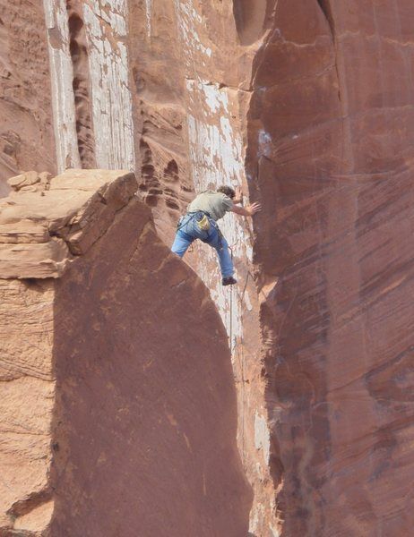 Rock Climbing Photo: Nico leading pitch 3; about to step across onto th...