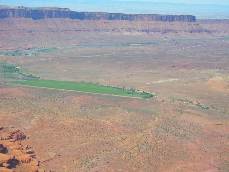 Looking north from the summit of the Nun, with private ranch in front and Colorado river along top