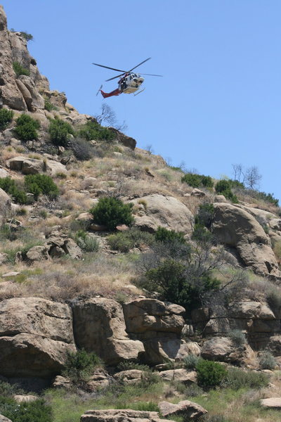 Rock Climbing Photo: Rescue of injured I believe climber in the Pin Sca...