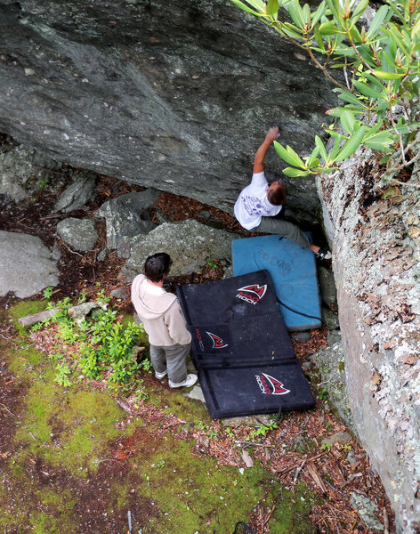 "Matt Montgomery on the FA of ""Cherokee Dihedral"" (v-1) at the Olympus Area, GHSP VA."