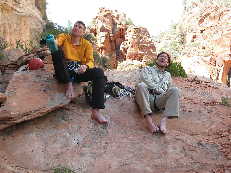 Lee Jensen and I relaxing and having lunch before the eighth pitch of <em>[[105717787]]</em>. May, 2010.<br> <br> Photo by Marc Jensen.