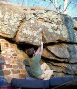 "Rock Climbing Photo: Adam Walker on ""Out-House"" (V-5+) at the..."
