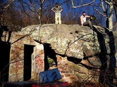"Rock Climbing Photo: Adam Walker on ""DoorWay"" (V-4+) at the r..."