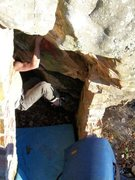 "Rock Climbing Photo: Steve Lovelace on ""DoorWay"" (V-4+) at th..."