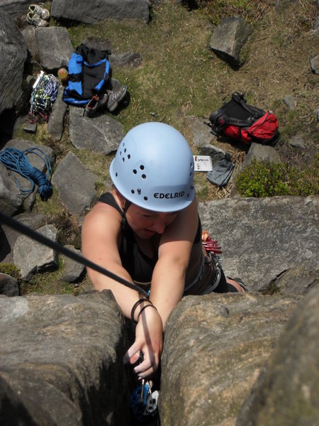Jess cleaning the furthest left HVS on Exodus buttress
