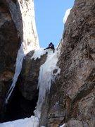 Rock Climbing Photo: Ryan M. enjoying good ice on the first chockstone....