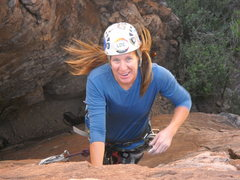 Rock Climbing Photo: Marcy on her redpoint of Javalina Hardman - her ha...