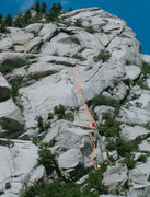 Rock Climbing Photo: Route location. Yellow dots are belays.