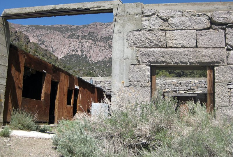 Handsome granite awaits you in, and around Panamint City. There's trad climbing potential here; note the crags in the background. <br> <br> These huge, awesome fort-like walls are near &quot;The Hilton Cabin.&quot; The historical structures in PC are amazing! <br> <br> Taken 5/19/10