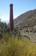 Rock Climbing Photo: Mormon Tea, and the smelting stack of Panamint Cit...