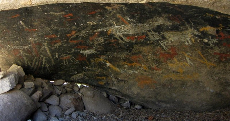 A panel of rare, and unique Coso pictographs in Surprise Canyon.  <br> <br> taken 5/19/10