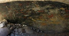 Rock Climbing Photo: A panel of rare, and unique Coso pictographs in Su...