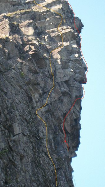Rock Climbing Photo: Lost Warriors is the route in yellow