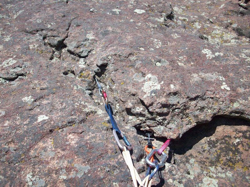 Belay anchor at the top of the 1st pitch
