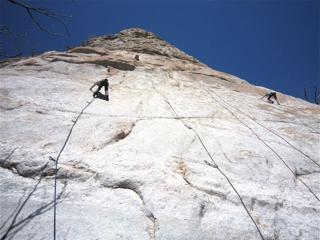 Rock Climbing Photo: Busy day.  Left to right, Brianna Averill climbing...