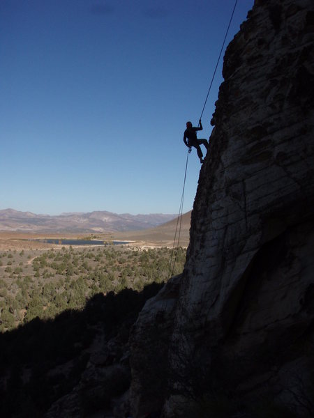 Rappelling off Prophecy Wall.