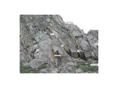 Rock Climbing Photo: Marked up photo including location of Green Snake
